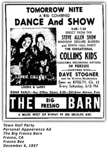 Town Hall Party - Collins Kids - Fresno Barn - 1957