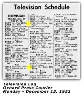 Town Hall Party - TV Log - Dec 1952