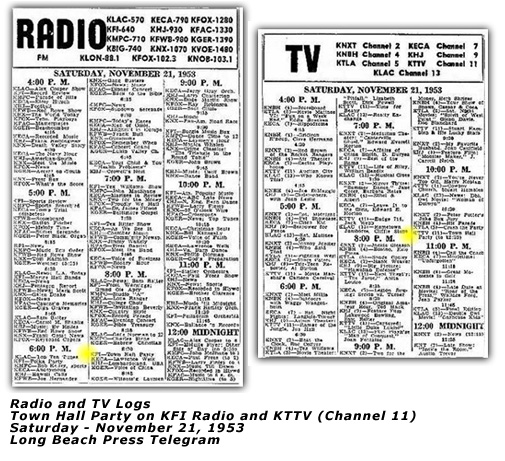 Town Hall Party - Radio and TV Log - Nov 1953