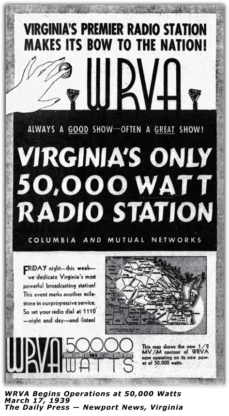 1939 - WRVA Grows to 50,000 Watts