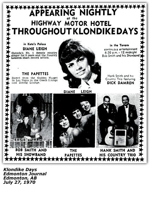 Dianne Leigh - Promo Ad - Klondike Days - Edmonton July 1970