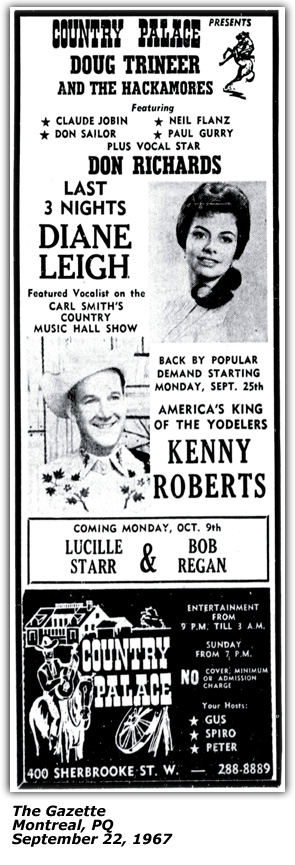 Promo Ad - Country Palace - Montreal - Dianne Leigh - September 12 1967