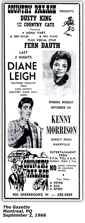 Promo Ad - Country Palace - Montreal - Dianne Leigh - September 2, 1966