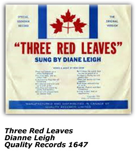 45 Cover - Three Red Leaves - Dianne Leigh - Quality Records