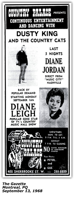 Promo Ad - Country Palace - Montreal - Dianne Leigh - September 13 1968