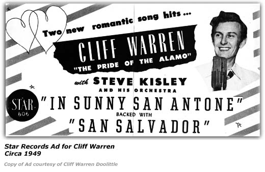 Star Records Ad - Cliff Warren