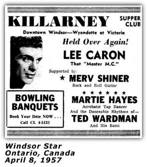 Merv Shiner - Killarney Club - Windsor, Ontario Ad - 1957