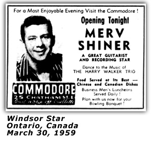 Merv Shiner - Commodore - Windsor, Ontario Ad - 1959