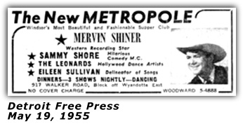 Merv Shiner - Metropole Club - Windsor, Ontario - 1955