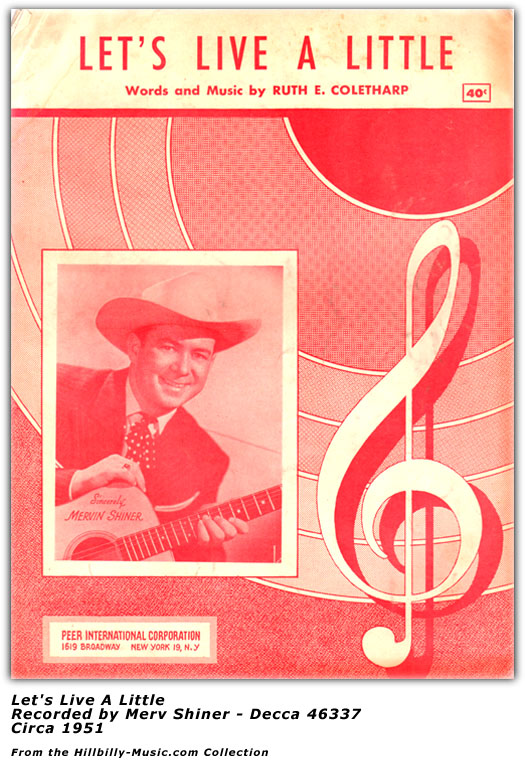 Merv Shiner - Let's Live A Little - Sheet Music - 1951