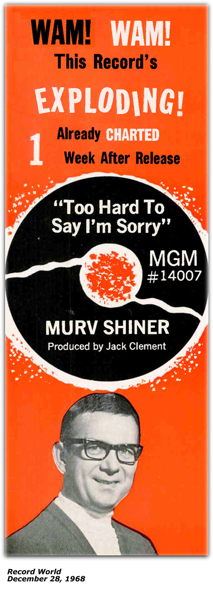 Merv Shiner -  Too Hard  To Say I'm Sorry - Record World Ad - December 1968