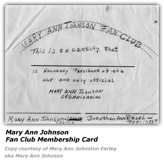 Mary Ann Johnson Fan Club