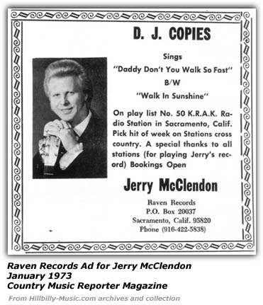 Raven Records Ad for Jerry McClendon - 1973