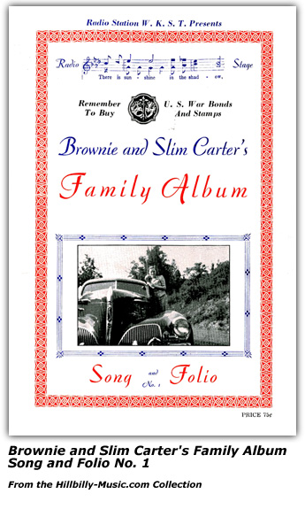 Brownie and Slim Carter Family Album Song and Folio No. 1