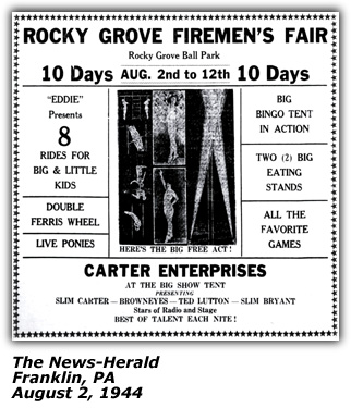 Promo Ad - Slim Carter - Fireman's Fair - Franklin PA - August 1944