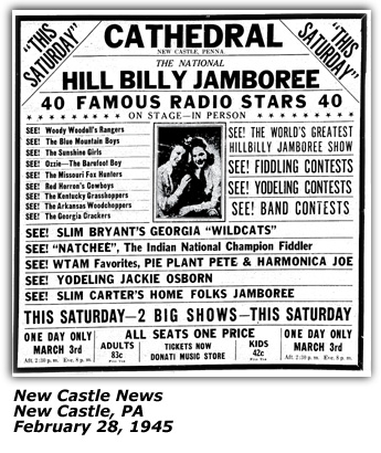 Promo Ad - Slim Carter National Hillbilly Jamboree - Akron OH March 1946