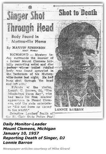 Newspaper article - Death of Lonnie Barron