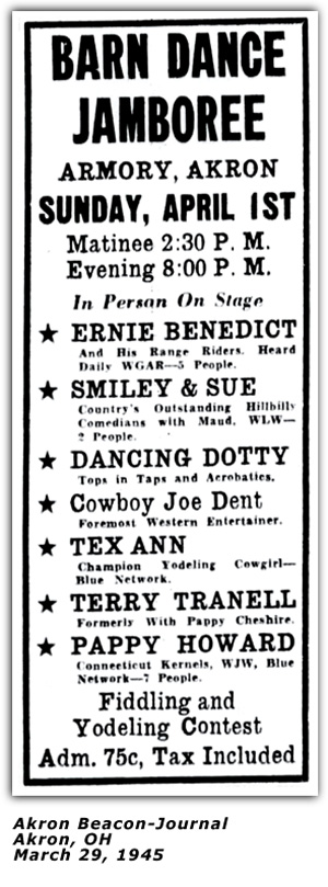 Pappy Howard Barn Dance Jamboree Akron March 29 1945 Ad